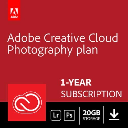 Adobe Creative Cloud Photography plan 20 GB (Photoshop  + Lightroom)   12-month Subscription with auto-renewal, PC/Mac