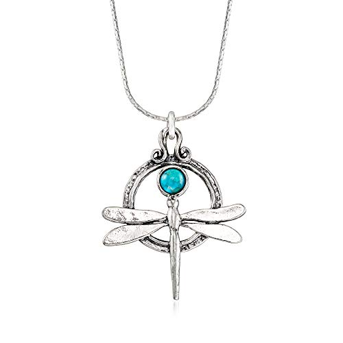 Ross-Simons Turquoise Dragonfly Necklace in Sterling Silver. 18 inches