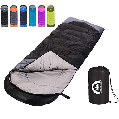 Sleeping Bag 3 Season Warm & Cool Weather - Summer, Spring, Fall, Lightweight,Waterproof Indoor & Outdoor Use for Kids, Teens & Adults for Hiking,Backpacking and Camping (Black Grey, Single)