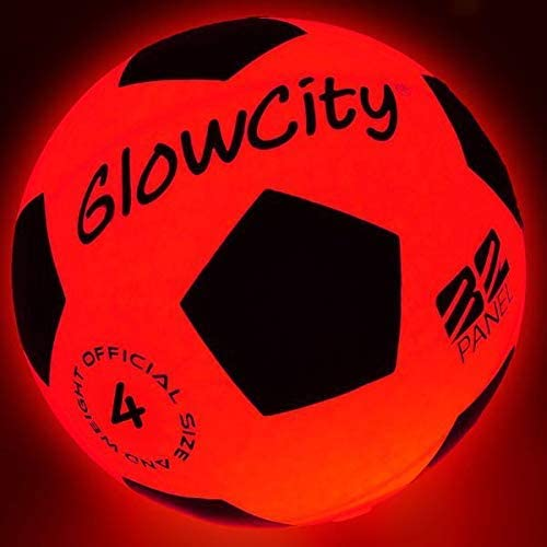GlowCity Light Up LED Soccer Ball Size 4 Blazing Red Edition Glows in The Dark with Hi Bright product image