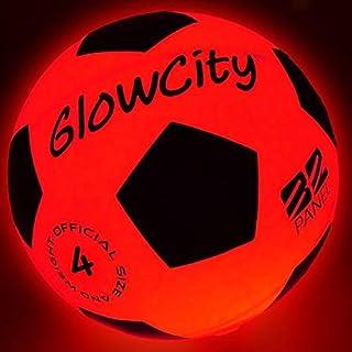 GlowCity Light Up LED Soccer Ball-Size 4 Blazing Red...