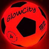 GlowCity Light Up LED Soccer Ball-Size 4 Blazing Red Edition Glows in The Dark with Hi-Bright LED's