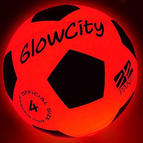GlowCity Light Up LED Soccer Ball-Size 4 Blazing Red Edition Glows in The Dark with Hi-Bright LED