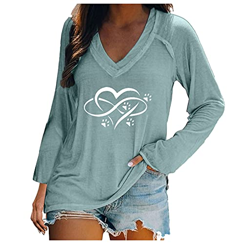 ZYAPCNGN Women's Solid Color Pullover V-Neck Long Sleeve Casual Top Autumn Beach Top Printed Long Sleeve T-Shirt Mint Green