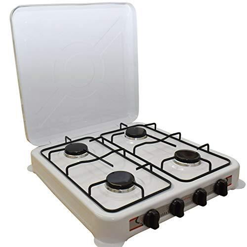 REPLOOD Hornillo de gas GLP 4 fuegos blanco Hornillo de camping cocina portátil 51 x 47 cm