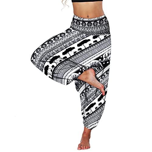 Lu's Chic Women's Harem Yoga Pants Parachute Sweatpants Bohemian Hippie Boho Workout Jogger Balloon Gypsy Cinch Bottom Lounge Flowy Casual Beach Buddha Summer Floral Patterned3 One Size