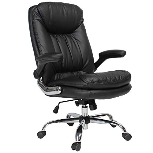 YAMASORO High Back Leather Office Chair Adjustable Tilt Angle and Flip-up Arms Executive Computer Desk Chair Thick Padding for Comfort and Ergonomic Design Black