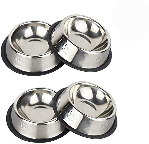 YASMA 4 Pack Cat Bowls Stainless Steel Pet Cat Bowl Kitten Rabbit Cat Dish Bowl cat Food Dish Easy to Clean Durable Cat Dish for Food and Water