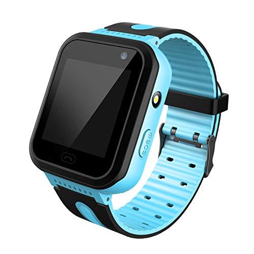 PTHTECHUS Reloj LBS Tracker Impermeable para Niños - Smartwatch Resistentes al Agua Teléfono con Localizador LBS Juegos de Chat de Voz Cámara para Juegos de Regreso a la Escuela Regalo (Azul)