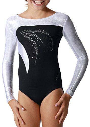 Fischer 7935 Gymnastikanzug Mädchen Damen, Tamara (152, schwarz-weiß)