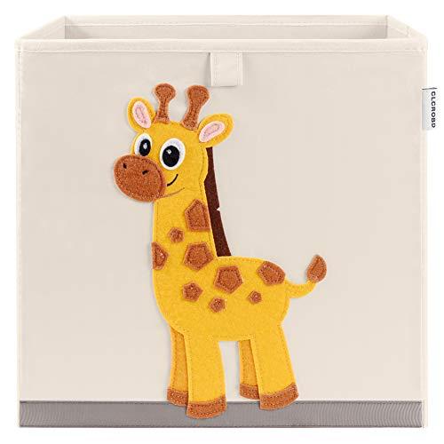 CLCROBD Foldable Animal Cube Storage Bins Fabric Toy Box/Chest/Organizer for Kids Nursery, 13 inch (Elegant Giraffe)