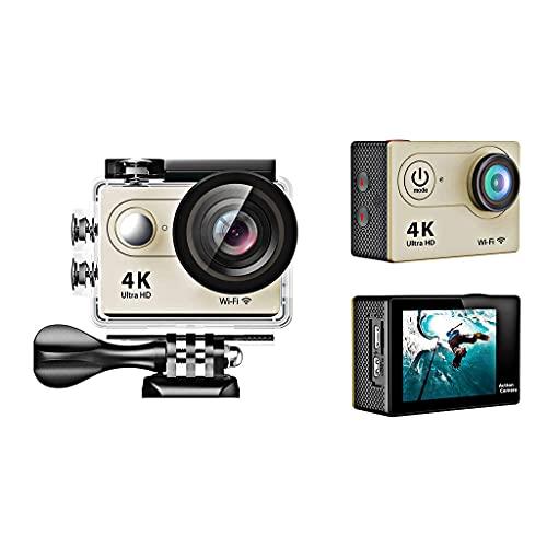 KDMB Videocamera Digitale Action Camera 4K, Schermo LCD da 2 Pollici, Camma Sportiva Impermeabile Obiettivo Grandangolare 170 Gradi, Videocamera Sportiva DV 30m con,Oro