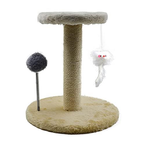 Aiglen Soporte de Garra de Gato Sisal Gatos rascador Dispositivo de Pulido de Garra Gatos Verticales Marco de Escalada Gatos de Juguete (Color : Beige)