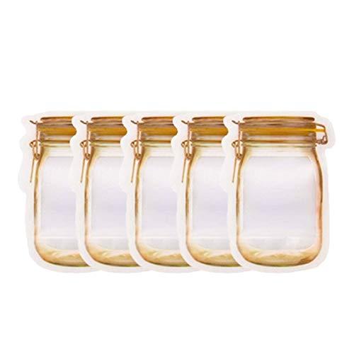 XUENING Bolsas de Botellas de frascos de masón Reutilizables Nueces de Caramelo Bolsa de Galletas Impermeable Sello Fresco Bolsa de Almacenamiento Bocadillos Sandwich Zip Bloqueo Bolsa (Color : 5pcs)