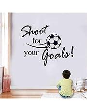 "SITAKE Pegatinas de fútbol ""Shoot for Your Goals"" pegatinas de pared para dormitorios para niños y niñas, pegatinas de vinilo para niños dormitorio infantil sala de juegos, sala de estar, 60 x 80 cm"