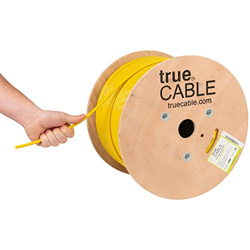 trueCABLE Cat6A Riser (CMR), 1000ft, Yellow, 23AWG 4 Pair Solid Bare Copper, 750MHz, ETL Listed, Unshielded Twisted Pair (UTP), Bulk Ethernet Cable
