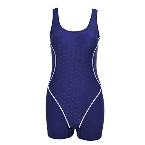 KYL Damen Sportlicher Badeanzug Schwimmanzug mit Bein/Boyleg