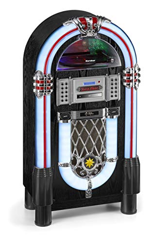 Karcher JB 6608D Jukebox (mit Plattenspieler - CD-Player und Bluetooth Audio Streaming, UKW und DAB+ Radio mit Senderspeicher, MP3-Wiedergabe via USB oder SD-Karte, Lightshow) schwarz