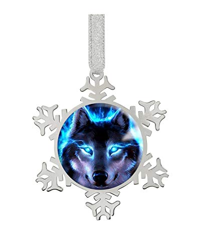 Fashion Image Snowflake Ornaments Silver 2.9'X2.6'X0.3'inches Home Decoration Christmas Tree Hanging Ornaments (Wolf Cool Blue Flame)