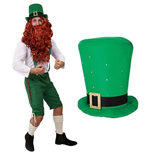 ILOVEFANCYDRESS Disfraz DE Duende IRLANDES Conjunto para Adultos TEMATICO DE FATO con Sombrero LONGO Verde con Cinta Negra Dia DE San Patricio (M)