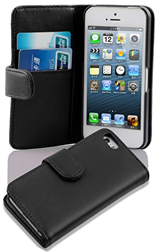 Cadorabo Funda Libro para Apple iPhone 5 / iPhone 5S / iPhone SE en Negro DE Caviar - Cubierta Proteccíon de Cuero Sintético Liso con Tarjetero y Función de Suporte - Etui Case Cover Carcasa