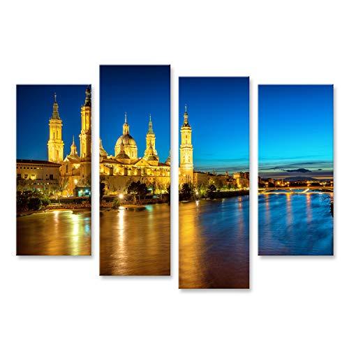 Cuadros Decoracion Salon Modernos Ciudad de Zaragoza, España, Vista sobre el Ebro a la Catedral Medieval Basílica del Pilar en la luz Azul del Reloj de la Tarde UUC