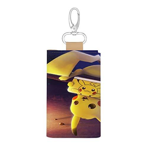 Tesany ポケモン ピカチュウ キーケース レディース キーホルダー PUレザー 6連 三つ折り カードケース スマートキーケース メンズ 人気 小銭入れ 持ち運び便利 高級感 多機能 カラビナ付き アニメ ピカチュウ グッズ かわいい ギフト