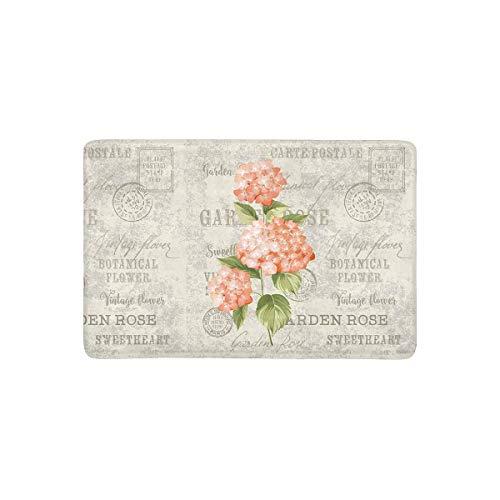LVOE TTL Hortensia Blumen in Vintage Postkarte Hintergrund Fußmatte Anti-Rutsch-Eingangsmatte Boden Teppich Indoor/Outdoor/Haustür Matte Home Decor, Gummi-Träger 23,6 X 15,8 Zoll