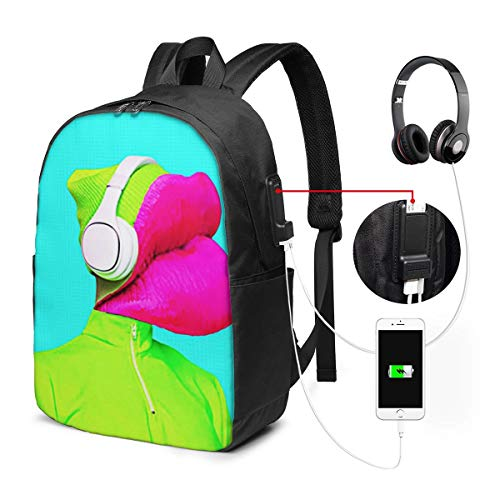 Laptop Backpack with USB Port Pink Collage Lips Dj, Business Travel Bag, College School Computer Rucksack Bag for Men Women 17 Inch Laptop Notebook