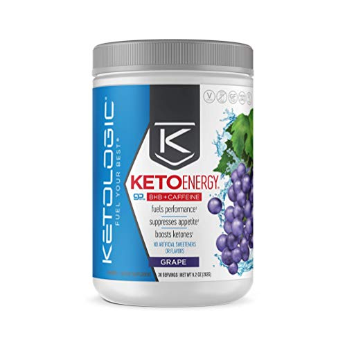 KetoLogic BHB Exogenous Ketones Drink Powder + Electrolytes + Caffeine - Keto Pre-Workout - Patented goBHB® Max Results - Amplify Ketosis, Utilize Fat for Energy (30 Servings) Grape