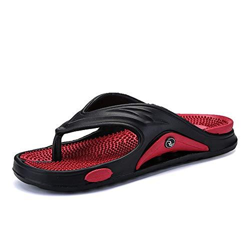 Herren Hausschuhe große Größe Fashion Massage Sommer Wasser Männer Sandalen flach Strand Schuhe Anti-Rutsch Herren Flip Flop, Rot - rot - Größe: 42 EU