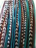 Extensiones para pelo SEXY SPARKLES, para mujeres, con plumas, con 2microperlas de silicona; set de 5 plumas de 18 a 25 cm aprox.