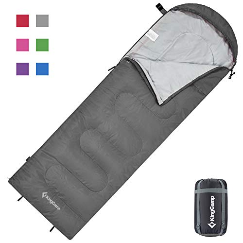 KingCamp Oasis Deckenschlafsäcke mit Kopfteil für Kinder 3 Jahreszeiten, Grau, 165 × 70 cm