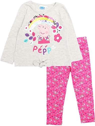 Peppa Pig Mädchen-Pyjama-Set mit Regenbogen und Blumen und Schleife Gr. 6 Jahre,...