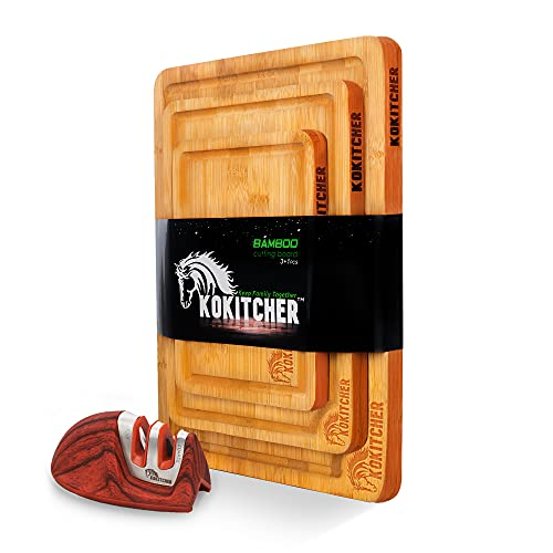 Bamboo Cutting Board Set of 3 Bundle with 2-Stages Knife Sharpener