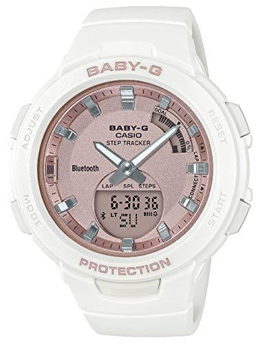 CASIO Damen Analog-Digital Quarz Uhr mit Harz Armband BSA-B100MF-7AER, Rosa-Weiß