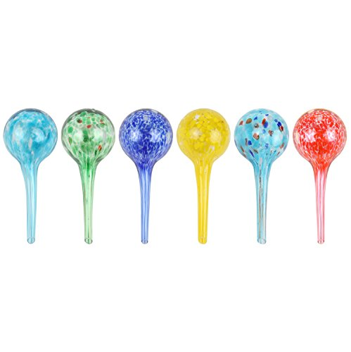 """Miles Kimball Set of 6 Small Multicolored Glass Plant Watering Globes - Each Measures 6"""" L x 2.5"""" D"""