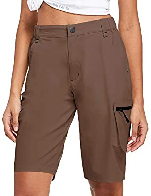 BALEAF Women's Golf Shorts Quick Dry Multi Pocketed Cargo Shorts Water Resistant Camping Travel Hiking Brown L