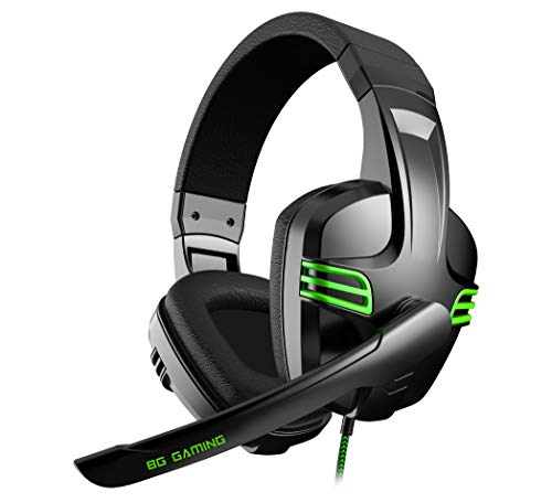 Cascos Gaming BG Typhoon - Auriculares con microfono, Sonido Stereo, Altavoces 40mm, Diadema Ajustable, Micro abatible, USB, Compatible PC, PS4,...