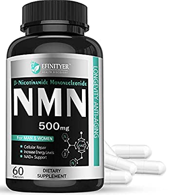 1 Pack NMN Supplement, 500mg Nicotinamide Mononucleotide Per Serving Powerful NAD+ Precursor Naturally Boost NAD+ Levels Supplement for Anti-Aging Energy Metabolism Vegan Friendly 60 Capsules