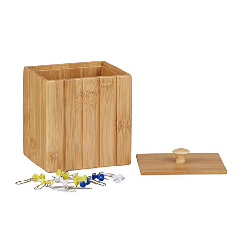 Relaxdays Caja Pequeña con Tapa, Bambú, Beige, 11.5 x 10 x 8 cm