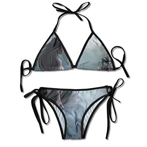 Chica Sirena y navegando en el mar Barco Pirata Impreso Conjuntos de Bikini para Mujer, Traje de baño Triangular Traje de baño de Playa Negro