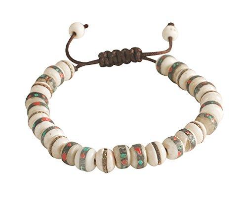 Tribe Azure Fair Trade Tibetan Embedded Yak Bone...