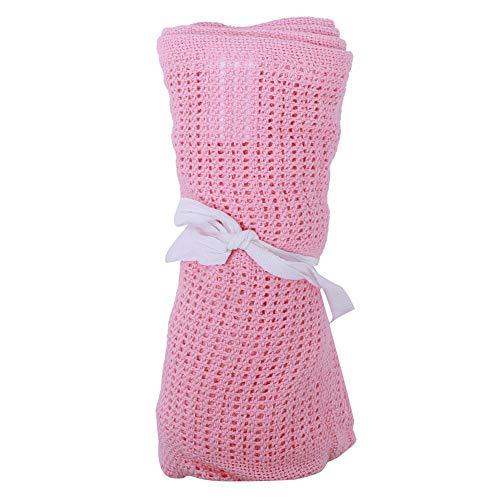 Manta de bebé, unisex Manta de bebé celular de algodón puro para Cama de cuna Moisés Cuna de cesta Cuna transpirable de usos múltiples Manta de pañales para bebé(rosado)