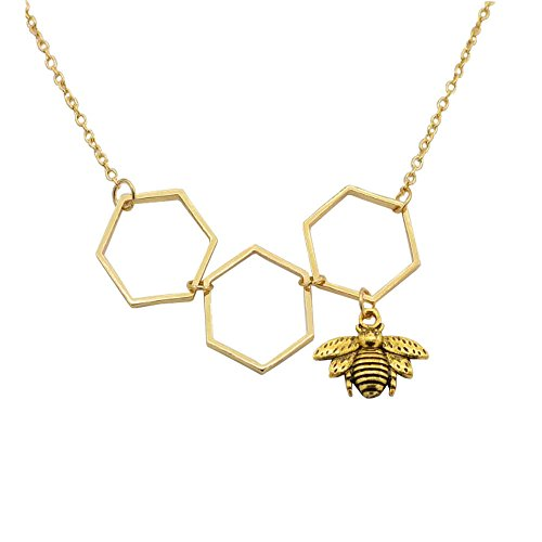 Winkey Collares para mujer, colgante de panal de abeja de abeja, joyería ornamento dorado