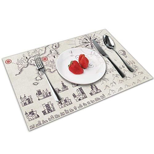MAY-XCustom Table Mat,Juego De Tapetes De Mesa De Cartografía Medieval, Tapetes De...