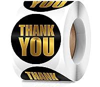 2インチ Thank Youステッカーロール - 大きなブラックゴールド箔ブティックシーリングサークルラベル 500枚 簡潔なラウンドサンキューステッカー 包装ギフト用