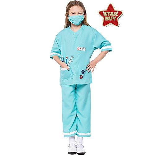 COSOER Los Médicos del Niño Experiencia Profesional Disfraces De Juegos Día del Niño Ropa Veterinaria De Halloween,Green-L