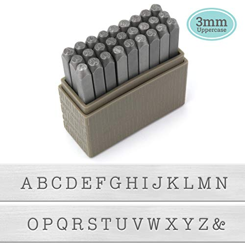 ImpressArt - Typewriter Font Metal Letter Stamps, 3mm Uppercase Steel Alphabet Punch Set for Imprinting Soft Metals, Leather and Wood
