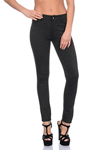 Freyday Modische Damen Jeggings Leggings Hüfthose Stretch Slimfit (M, Anthrazit meliert)